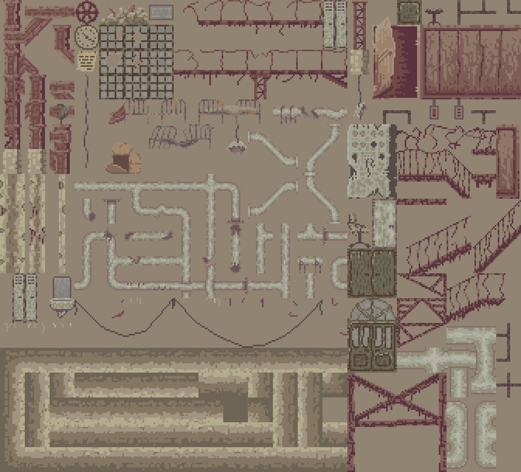 Pixel art abandoned factory tileset