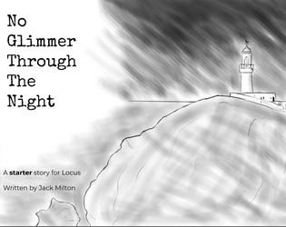 Cover of No Glimmer Through the Night. A drawing of a lighthouse.
