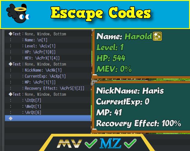 Eli Escape Codes for RPG Maker MZ MV