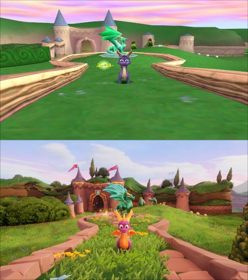 Spyro 1 screenshot vs spyro reignited screenshot
