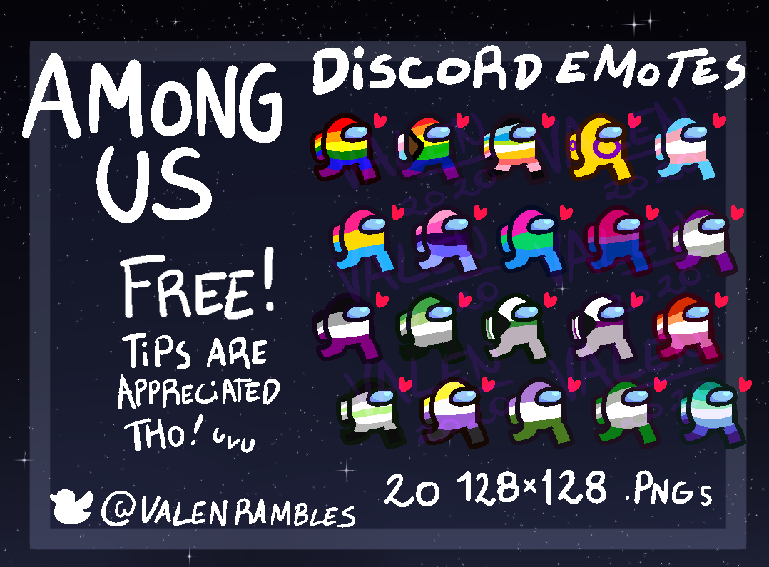 Pride beans - Among Us Discord Emotes FANMADE by Valen