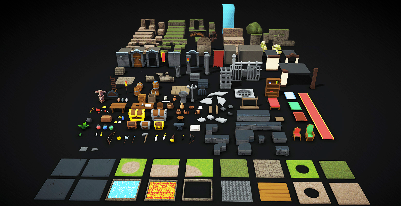 Modular Low Poly Cartoon Dungeon Props and Tileset Pack