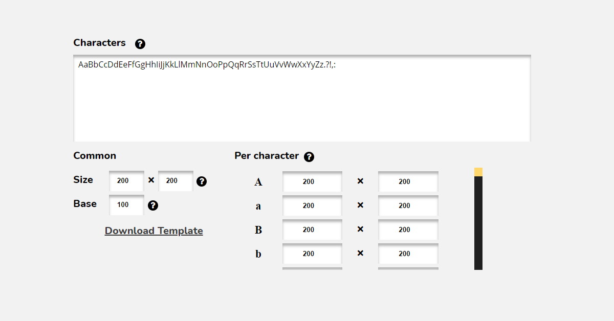 Choosing what characters you want in the font