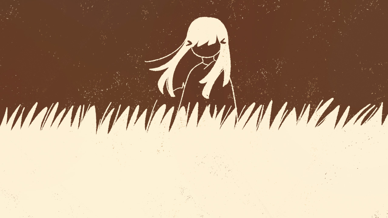 A mysterious woman standing in a field