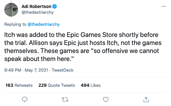 """Screenshot of a tweet about the Apple vs Epic court case where an Epic employee says that games with sexual content on itch are """"so offensive we cannot speak about them""""."""