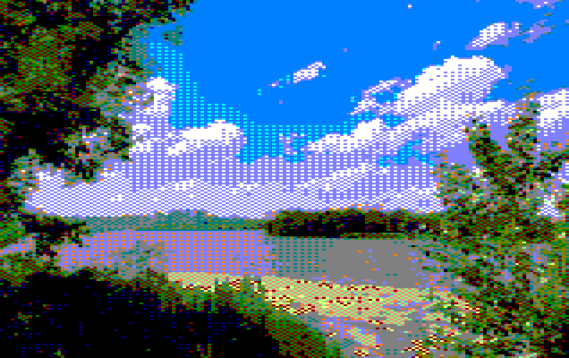 Tropical forest island landscape image converted to amstrad with ImgToCpc (mode0)