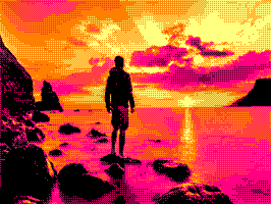 standing man near seashore at sunset picture converted for Amstrad CPC with Image-To-Amastrad-Cpc