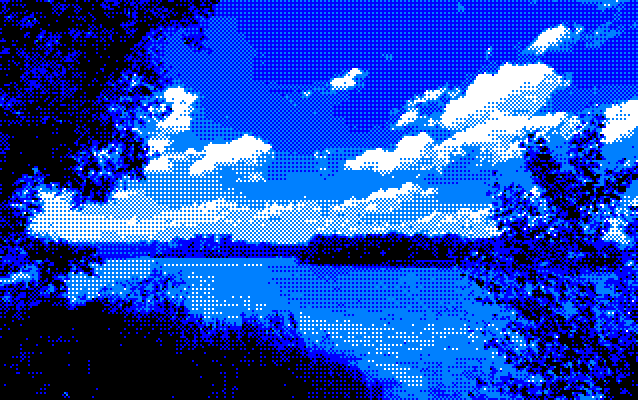 Tropical forest island landscape image converted to amstrad with ImgToCpc (mode1)