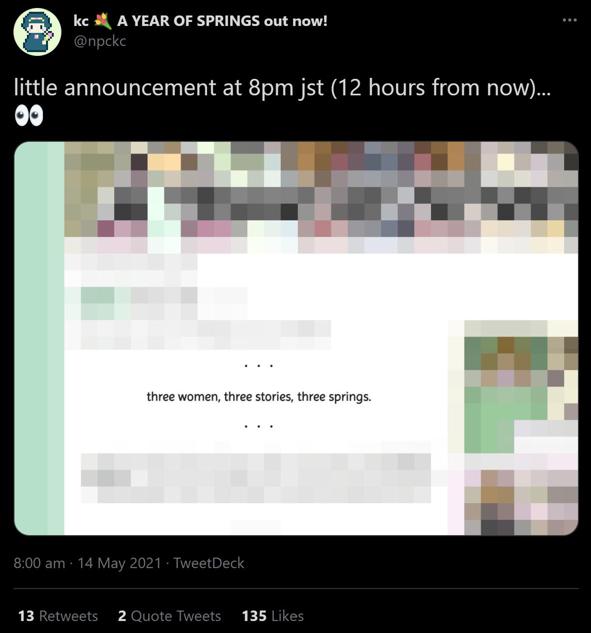 pre-release tweet with 13 retweets, 2 quote tweets, 135 likes