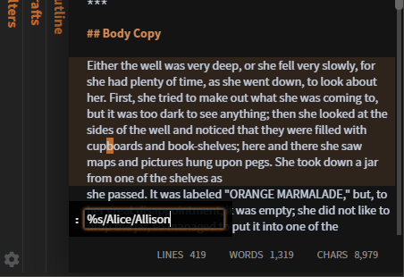 Several lines of text beneath an overlay with text field containing %s/Alice/Allison