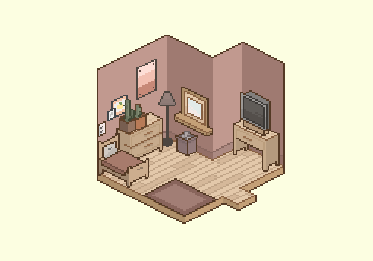 here's my simple, yet cozy, room. Cool game. please add more stuff