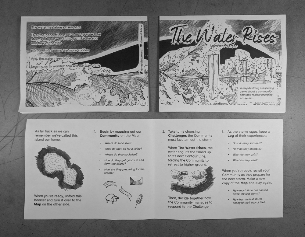 A display of the four pages of the zine.