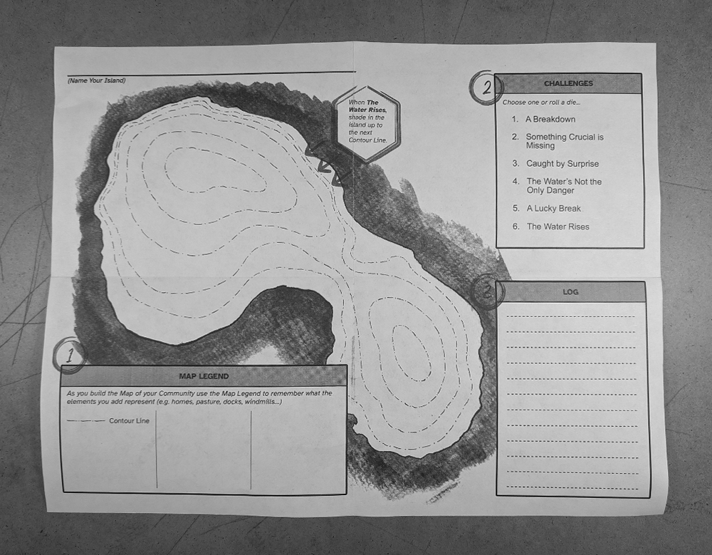 Unfold the zine to reveal the play map inside.