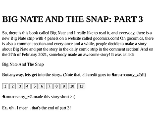 Big Nate And The Snap Part 3