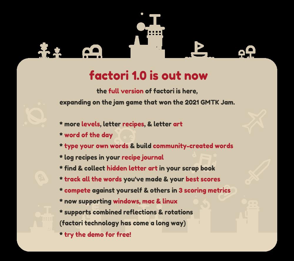 factori 1.0 features