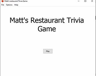 Matt's restaurant trivia game