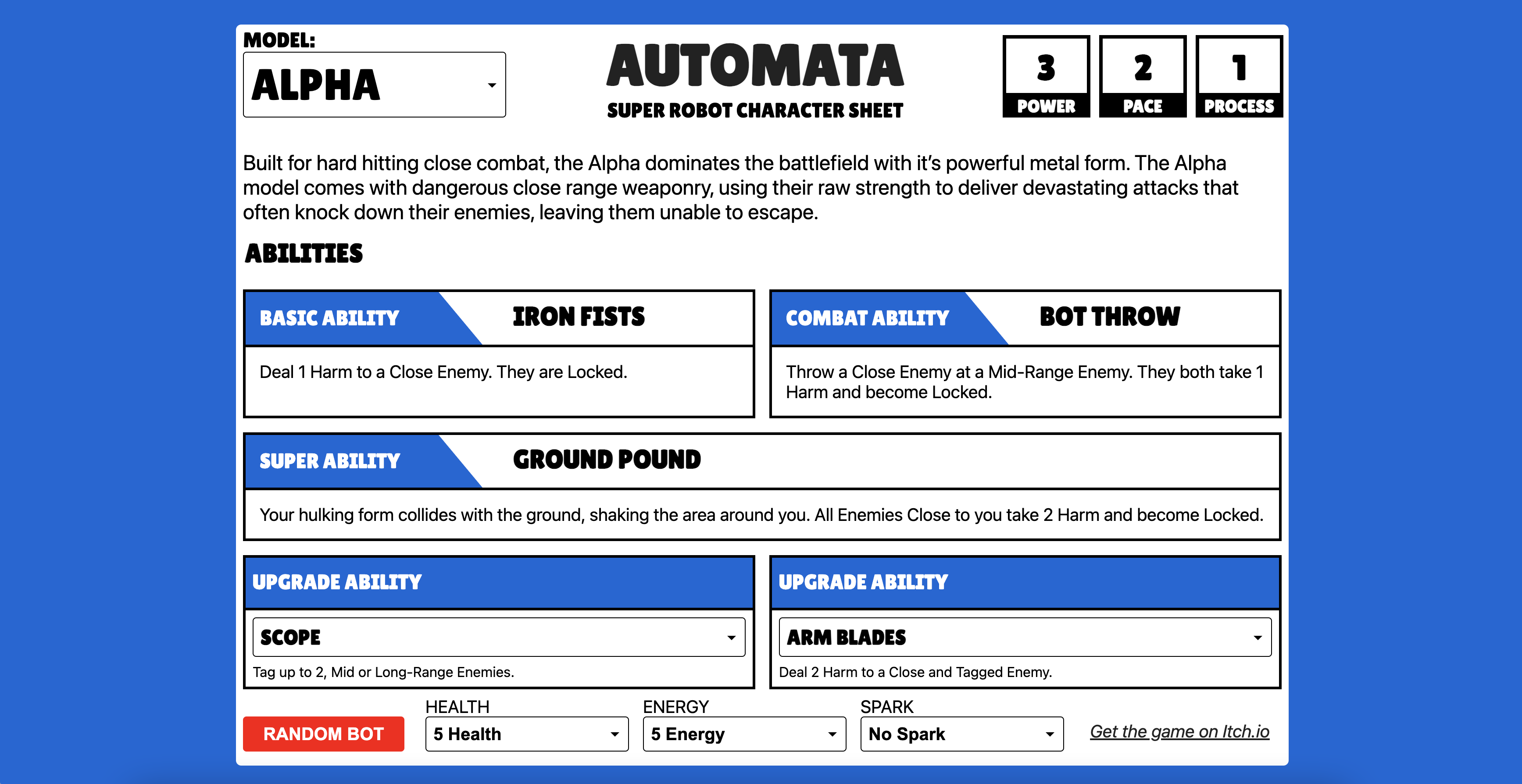 A picture of the digital character sheet for the game AUTOMATA. The sheet depicts a series of abilities that the play can use, as well as trackers for their stats, such as Health, Energy, and Sparks