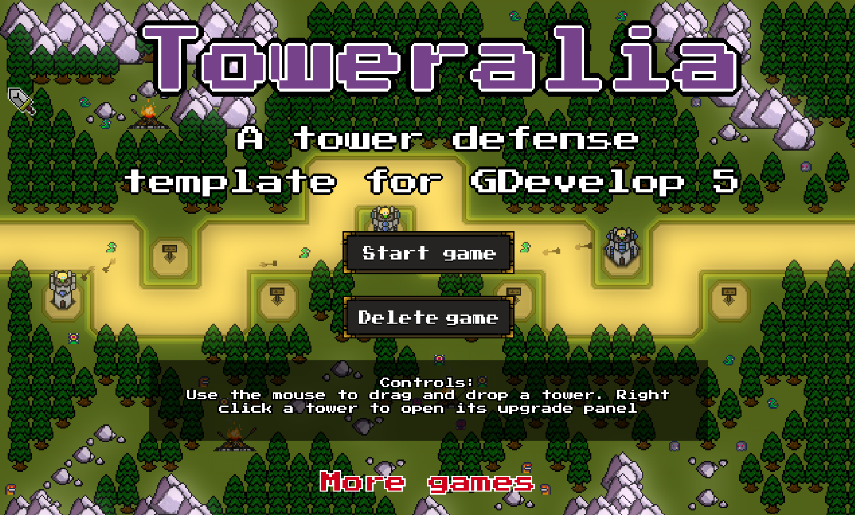 GDevelop - Toweralia - A tower defense template