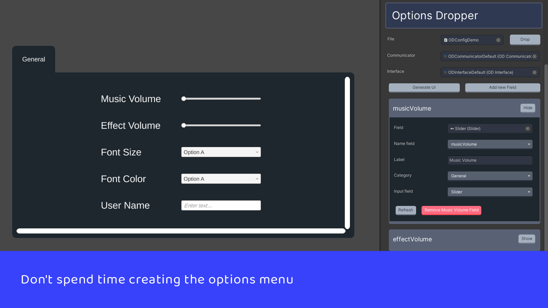 Don't spend time creating the options menu