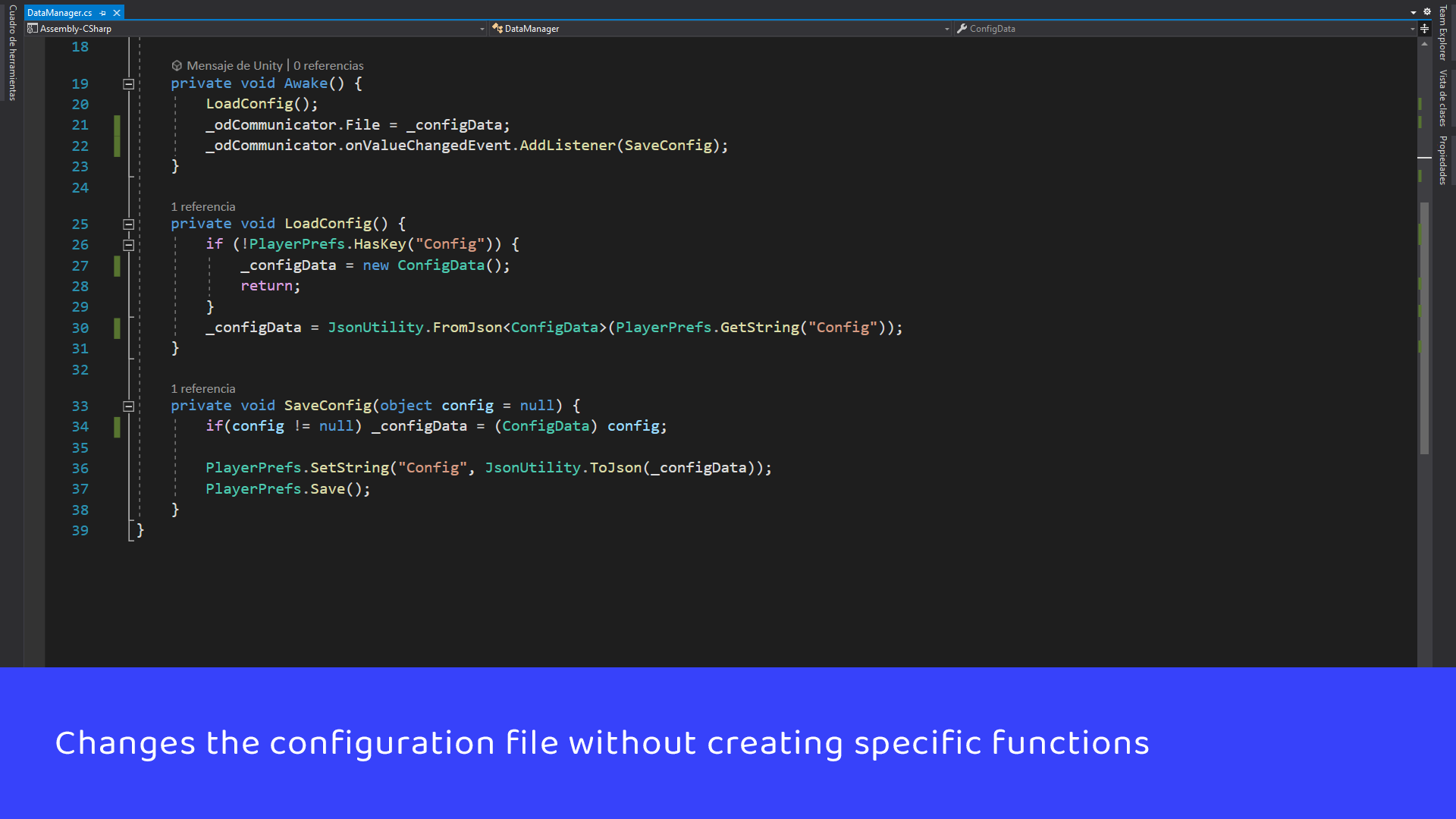 Changes the configuration file without creating specific functions