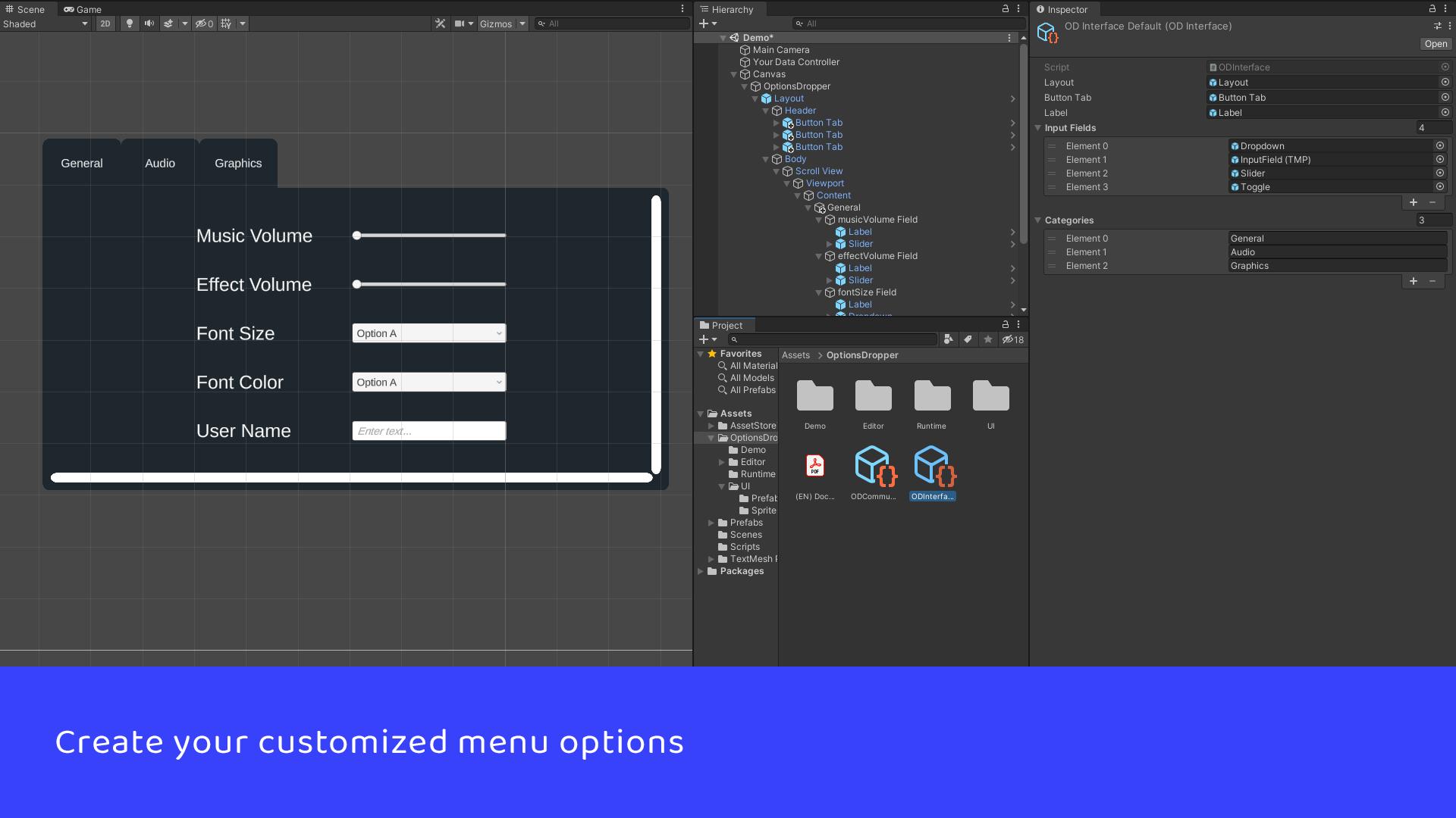 Create your customized menu options