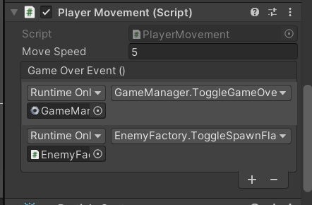 Unity events used in Dodge, the Player script fires an event when it's hit to two game objects, and calls specific functions