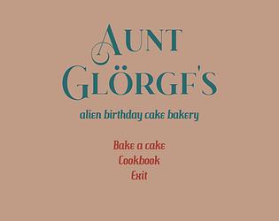 Aunt Glörgf's alien birthday cake bakery