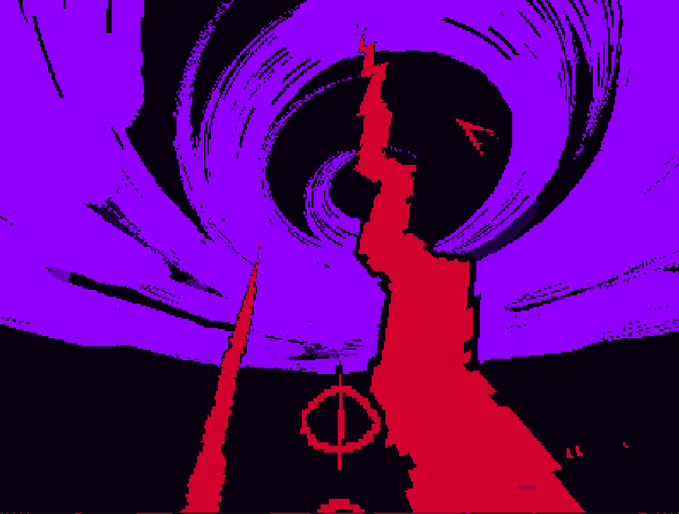 Just two obelisks of blood hanging out in a void.