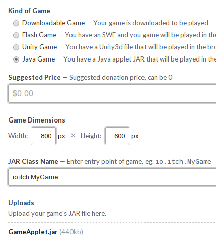 Support for Java applets added - itch io
