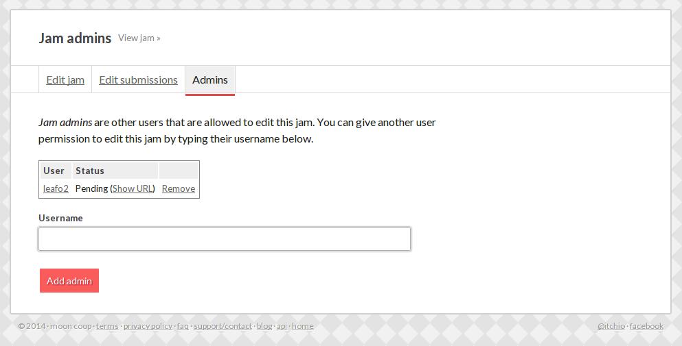 jam admins page