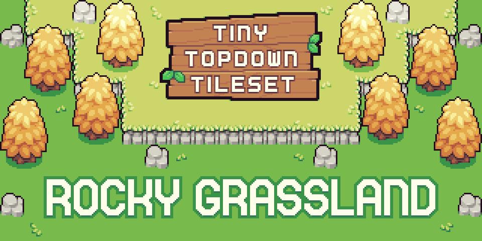 Tiny Topdown Tileset series: Rocky Grassland