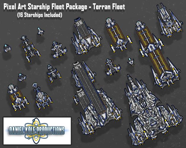 Pixel Art Starship Fleet Package - Terran Fleet