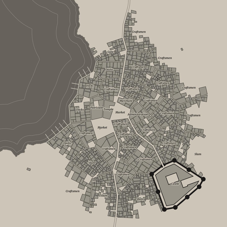0.4.0: Coastal cities - Meval Fantasy City Generator by watabou on