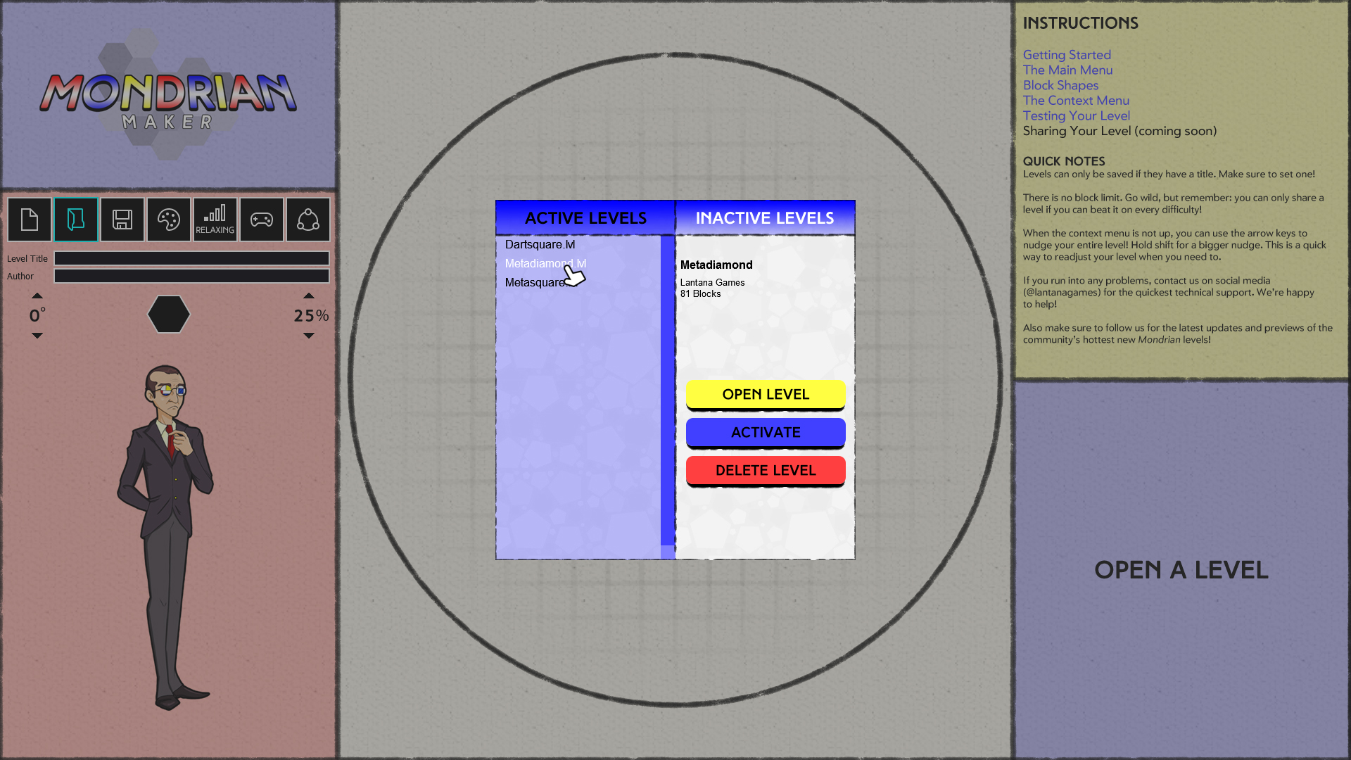 File Management In Mondrian Maker Plastic Reality By Block Diagram Games Game Mode Inactive Levels However Are Only Accessible Inside When You Click The Active Or Tabs View Will