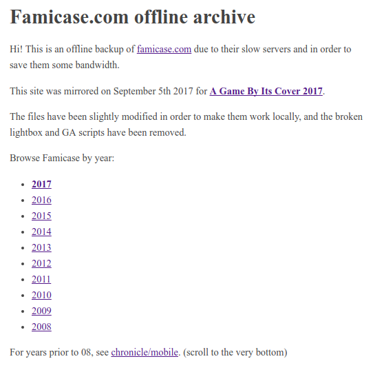 offline archive screenshot