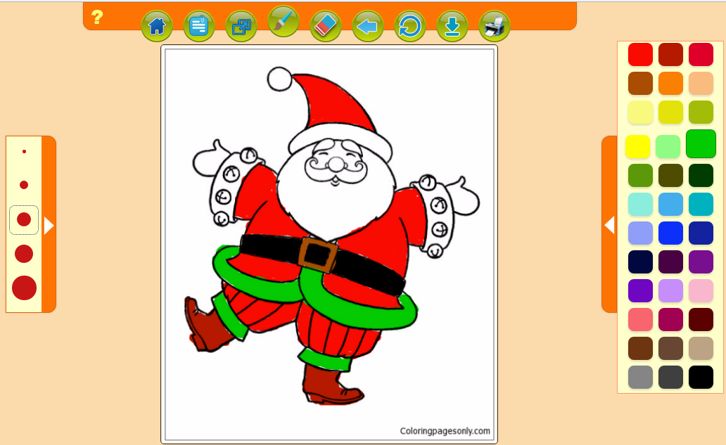 happy santa claus dancing happily christmas coloring page