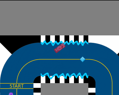 screenshot of track with powerup applied