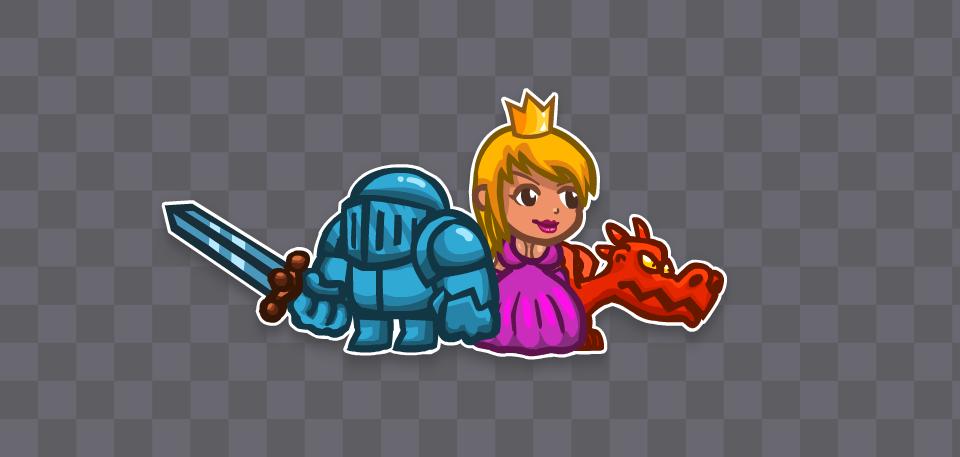 2D Fantasy Asset: Knight, Princess and Dragon